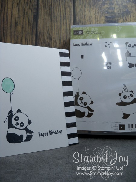 Make a Black and White Birthday Card with the FREE Party Pandas stamp set - www.Stamp4Joy.com